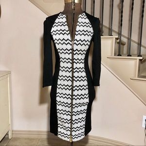 Cache Black and White Zip Up Bodycon Dress